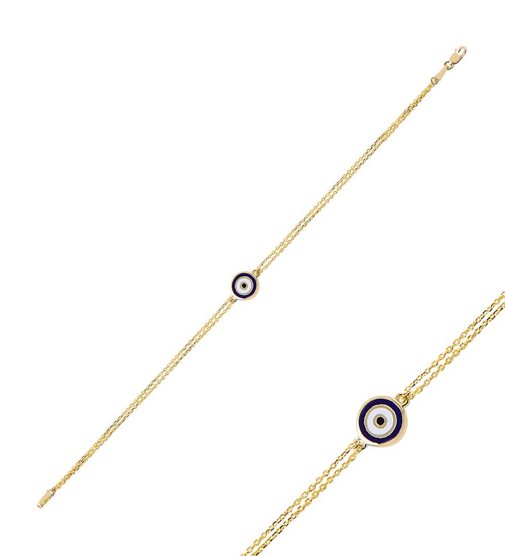 Women's Evil Eye Beaded Gold Bracelet