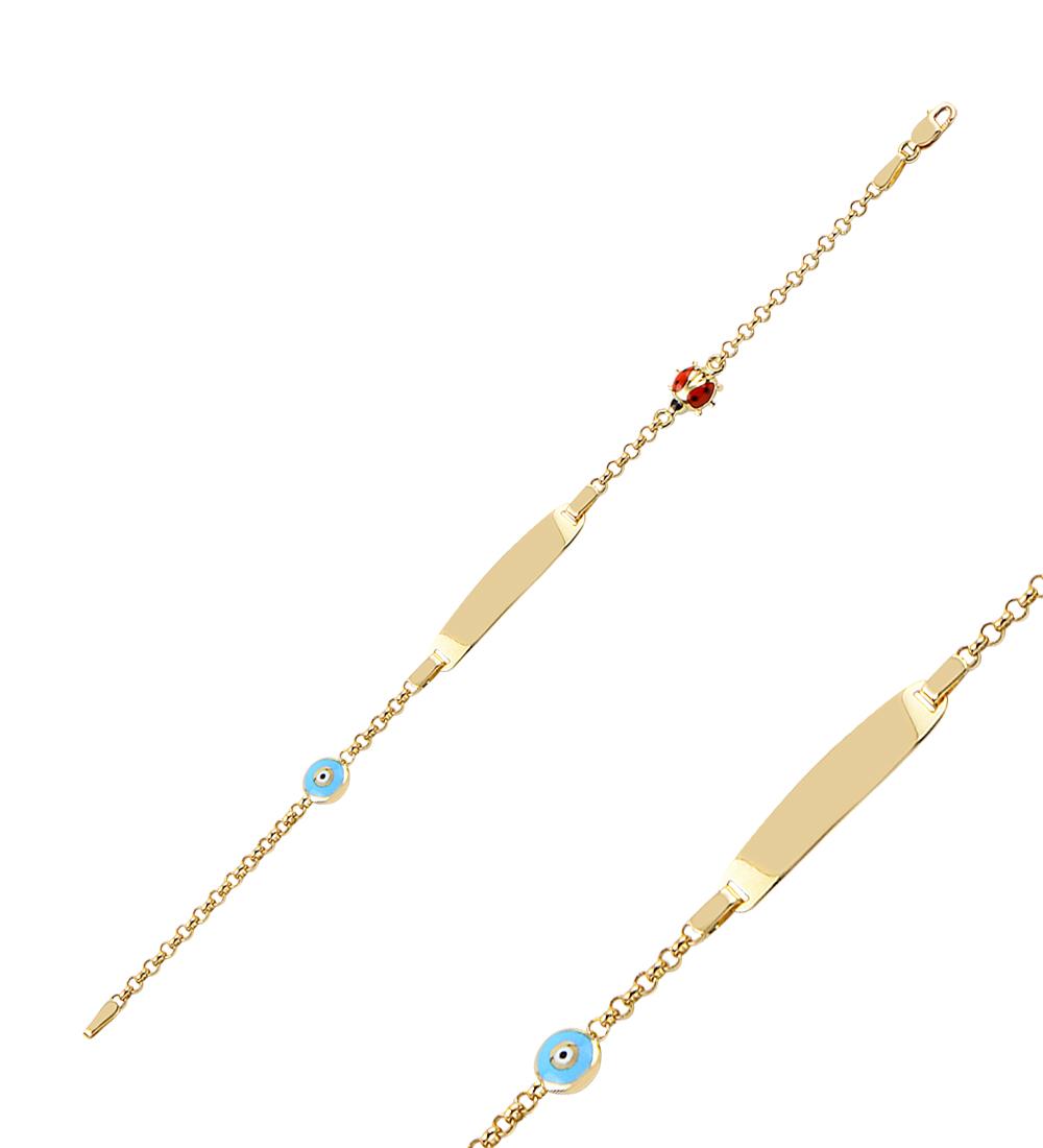 Kid's Ladybug Figure Gold Bracelet