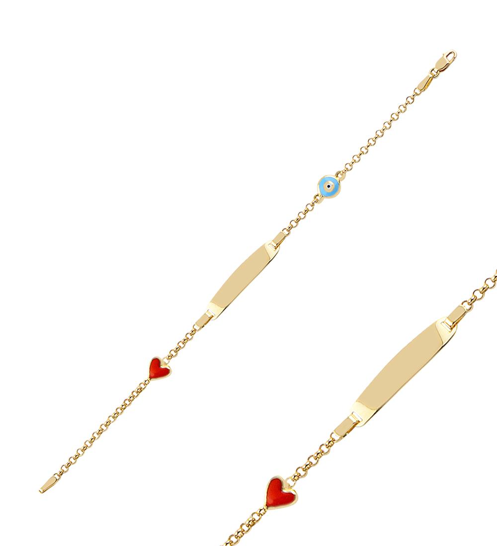 Women's Heart Pendant Gold Bracelet