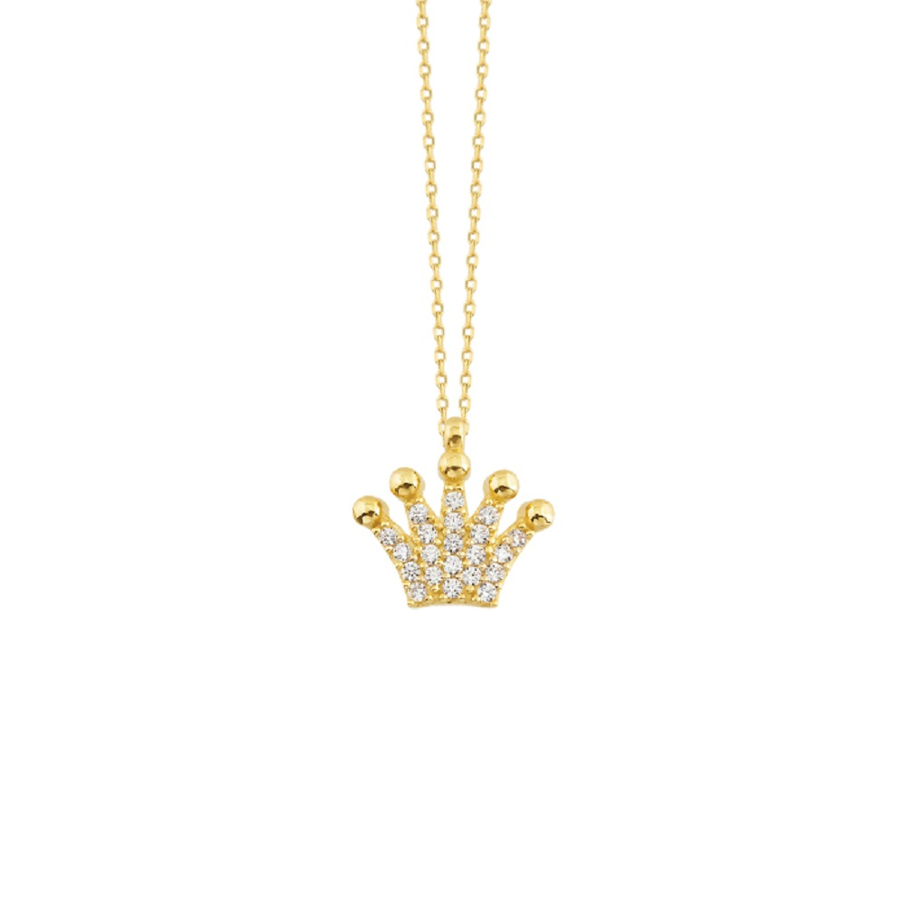 Women's Gemmed Crown Pendant 14k Gold Necklace