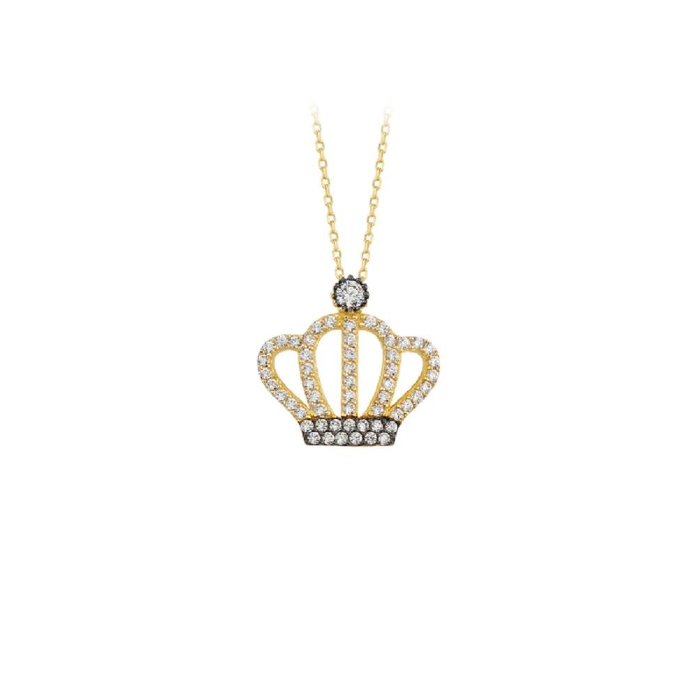 Gemmed Crown Pendant 14k Gold Necklace
