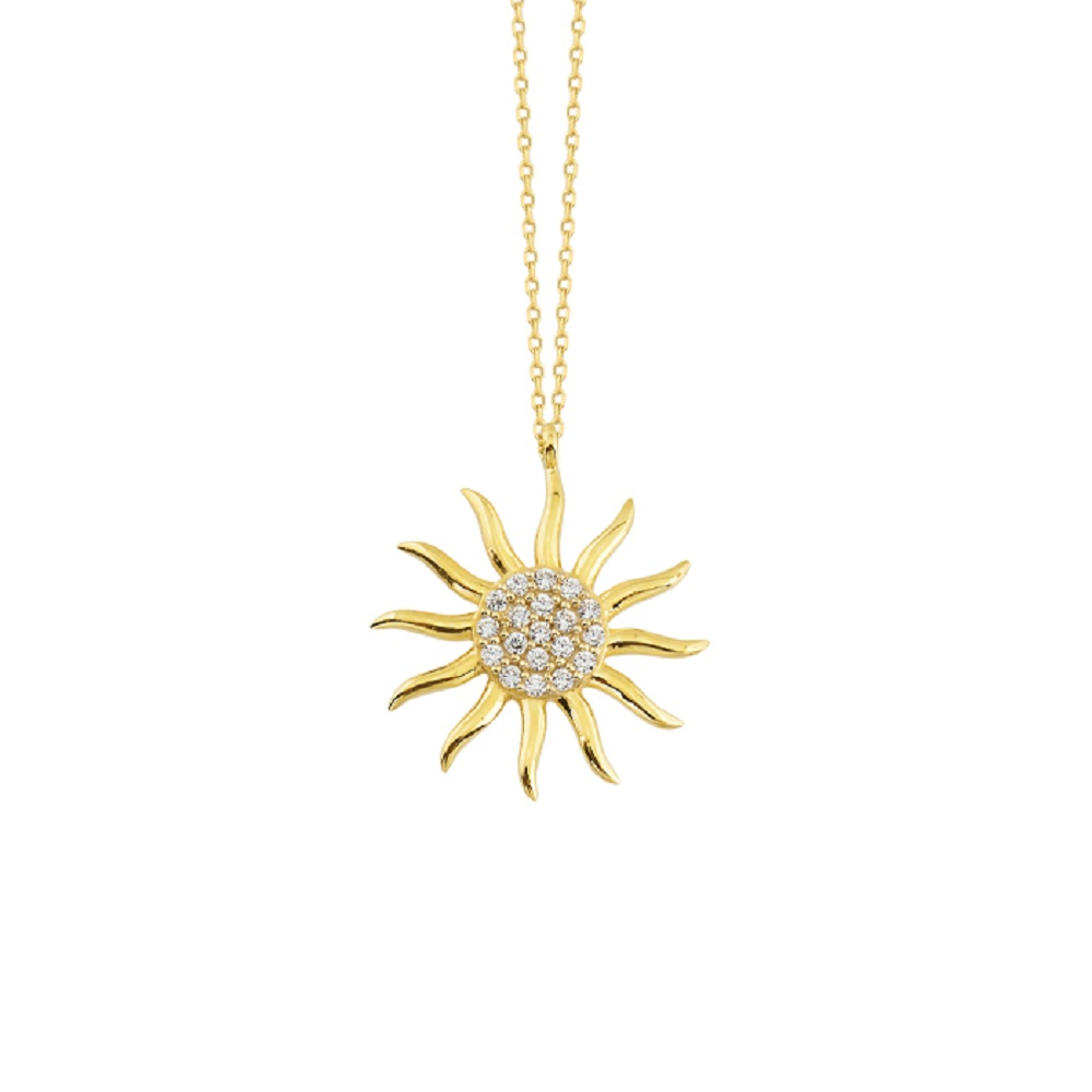 Women's Gemmed Sun Pendant 14k Gold Necklace