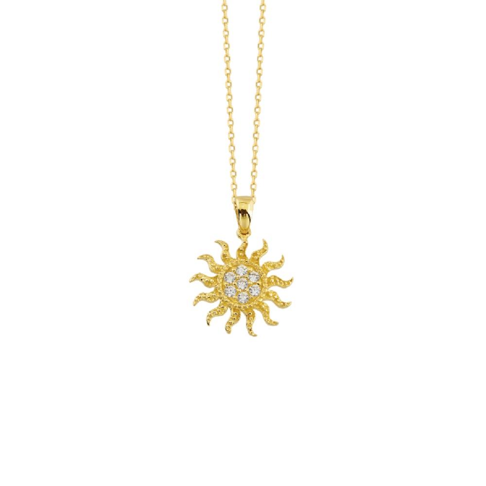 Women's Gemmed Sun Pendant 14k Necklace