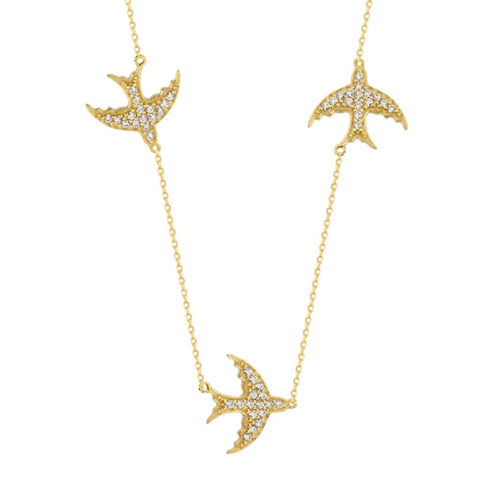 Gemmed Bird Pendant 14k Gold Necklace