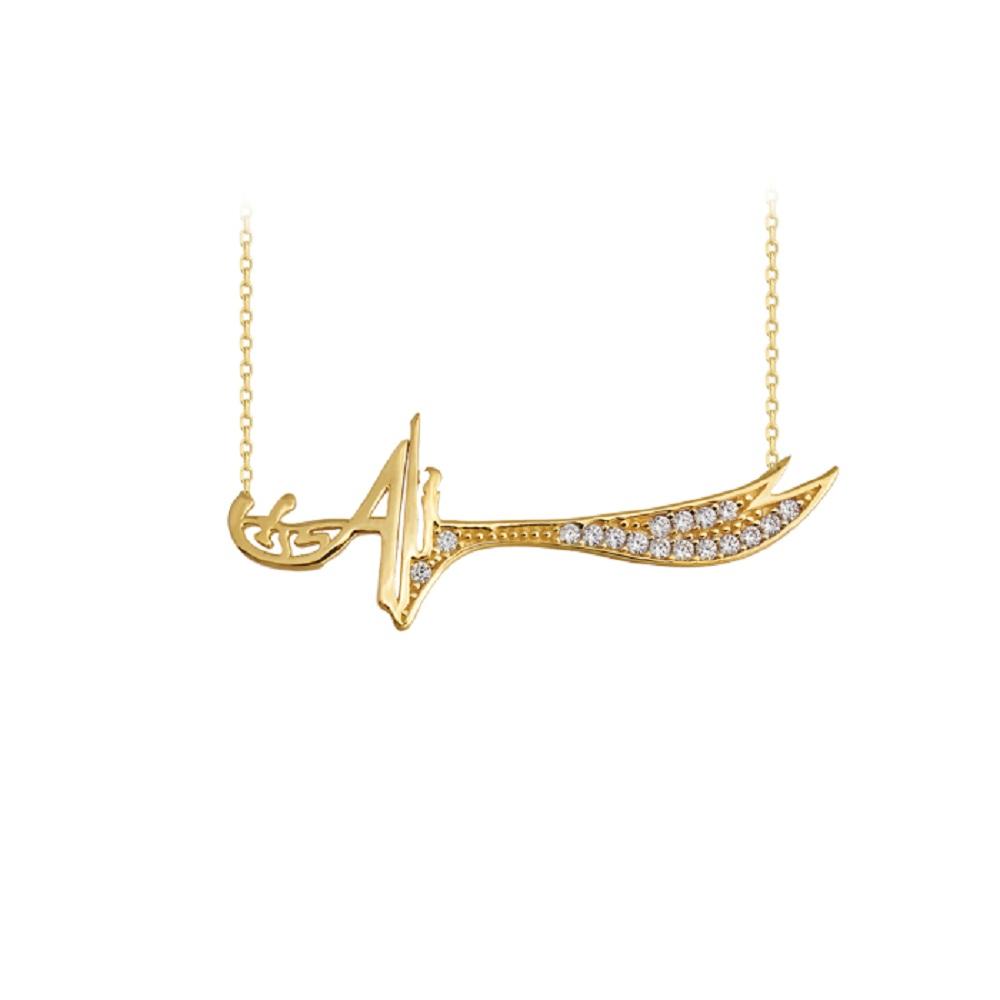 Women's Gemmed Sword Pendant 14k Gold Necklace