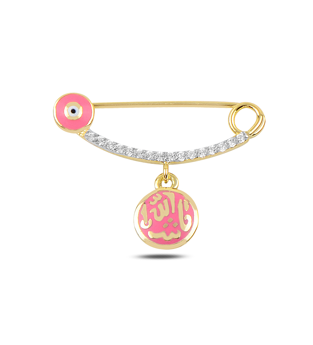 Baby's Evil Eye Beaded Gold Safety Pin