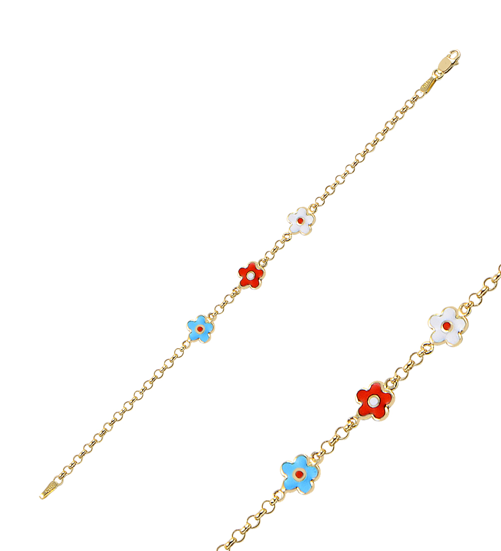 Kid's Multicolor Floral Pendant Gold Bracelet
