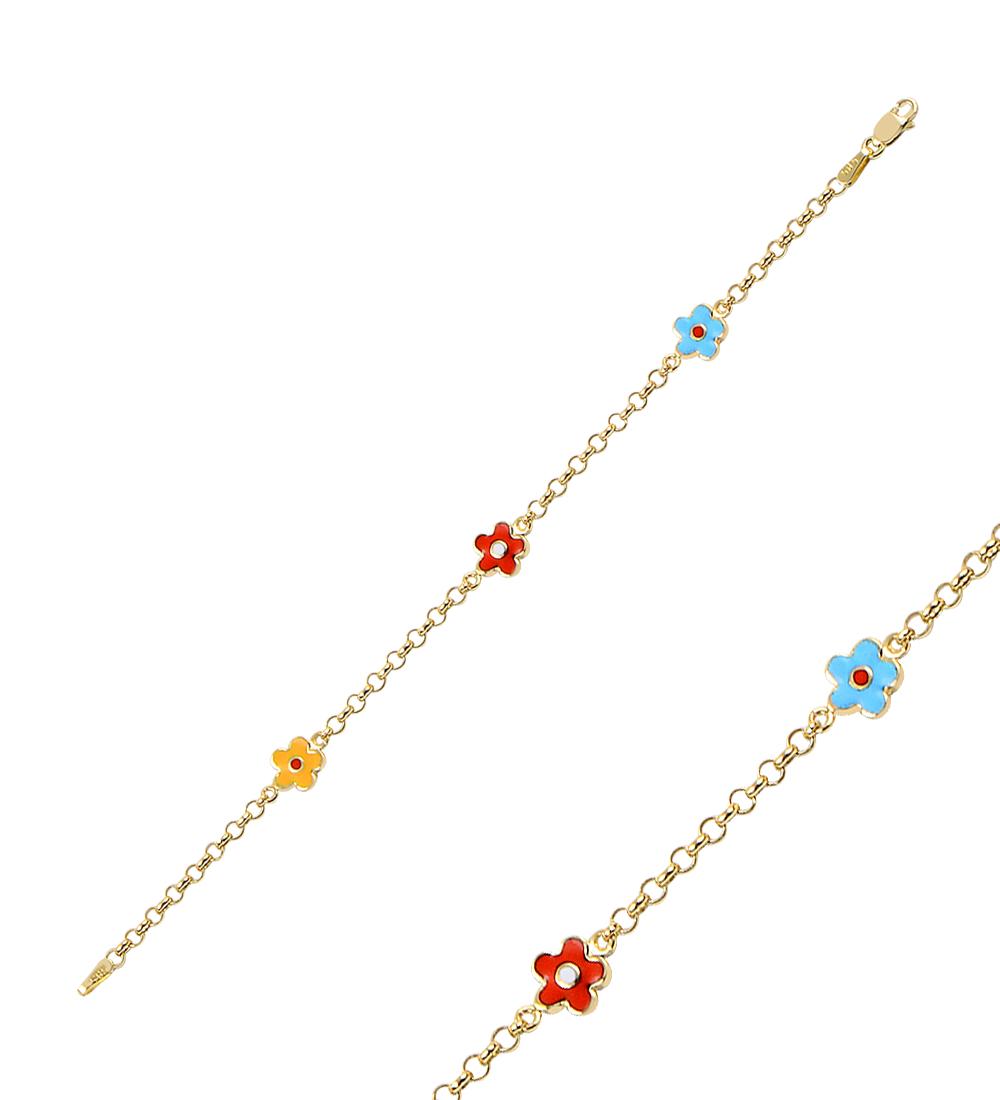 Kid's Multi-color Floral Figure Gold Bracelet