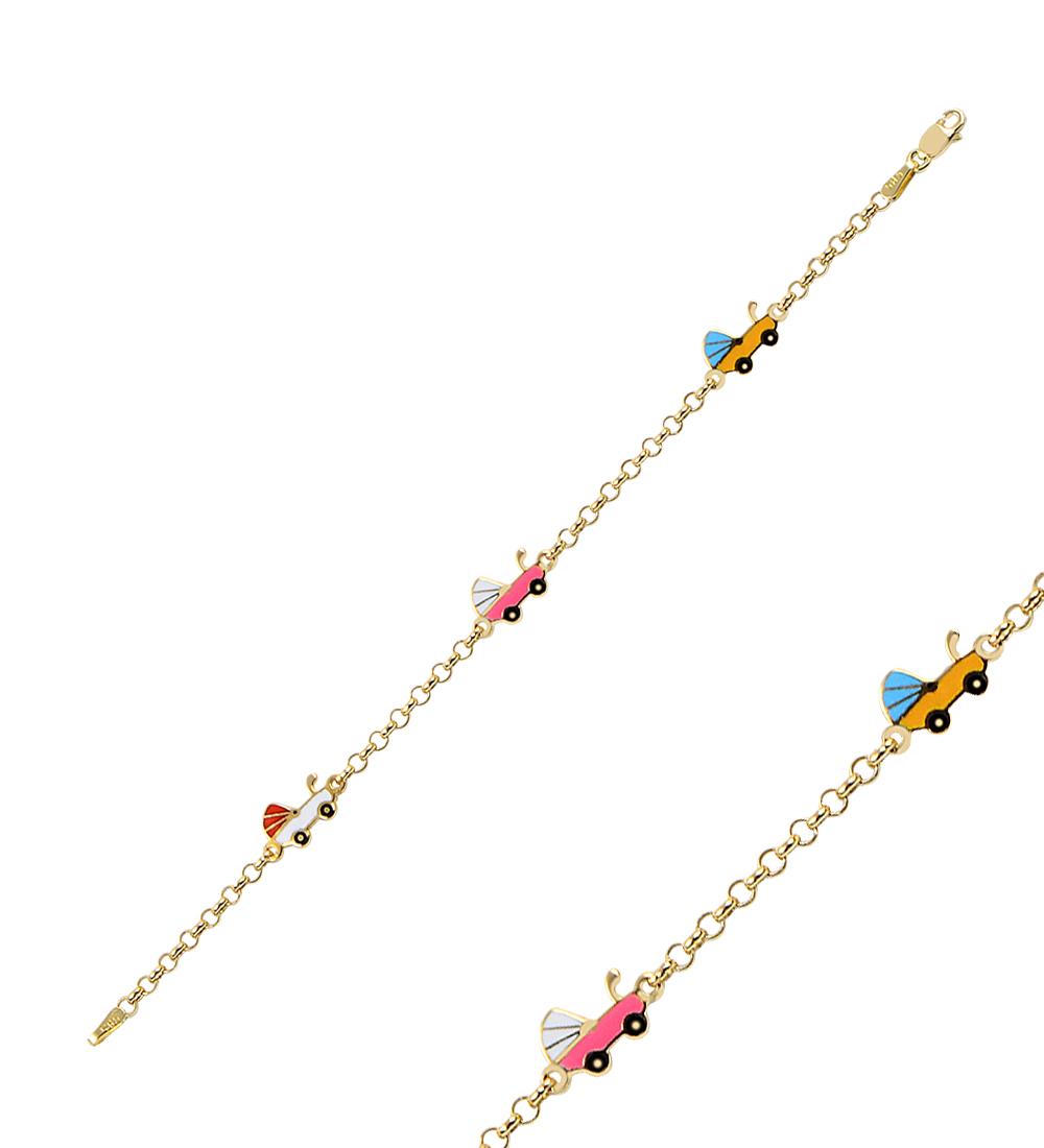 Baby's Car Pendant Gold Bracelet