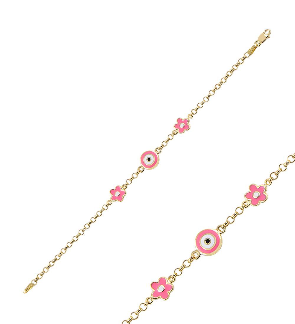 Kid's Pink Floral Figure Gold Bracelet