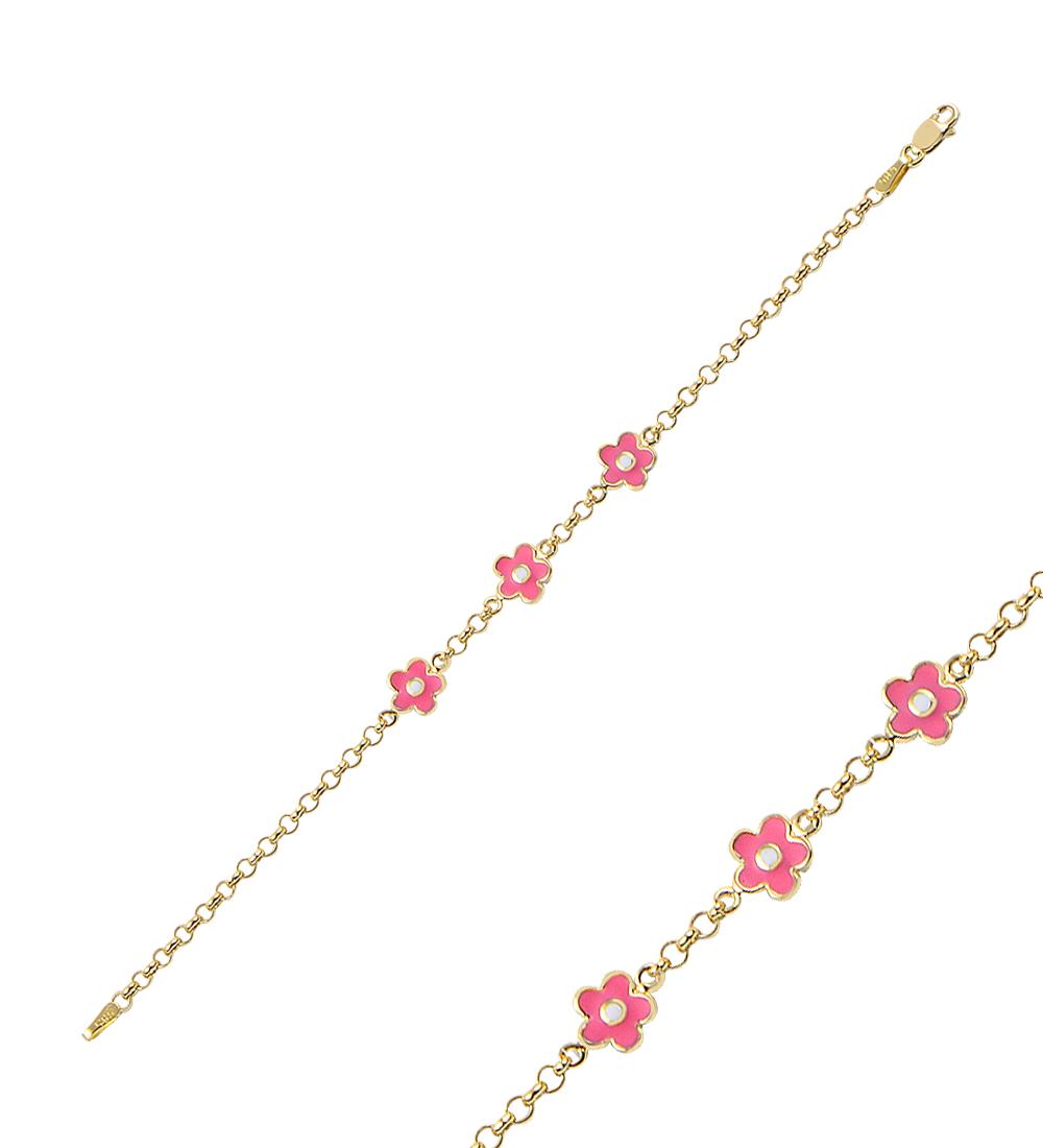 Kid's Pink Floral Pendant Gold Bracelet