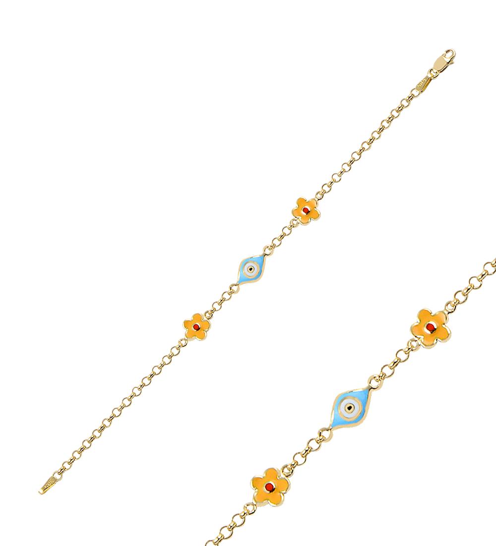 Girl's Floral Detail Drop Evil Eye Beaded Gold Bracelet
