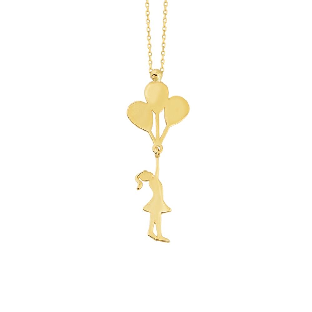 Women's 14 Carat Gold Girl & Balloon Pendant Necklace