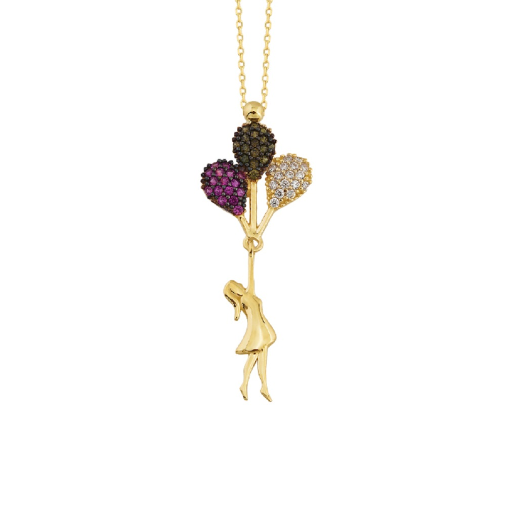 Women's Gemmed Balloon Pendant 14k Gold Necklace