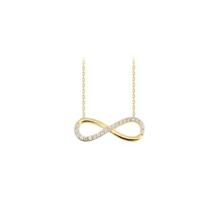 Gemmed Infinity Pendant 14 Carat Gold Necklace