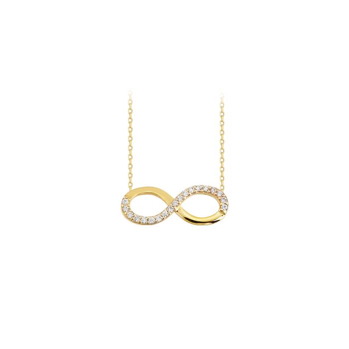 Women's Gemmed Infinity Pendant 14k Gold Necklace