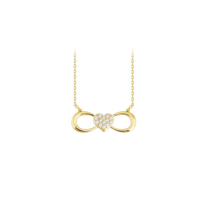 Women's Gemmed Infinity Pendant 14 Carat Gold Necklace