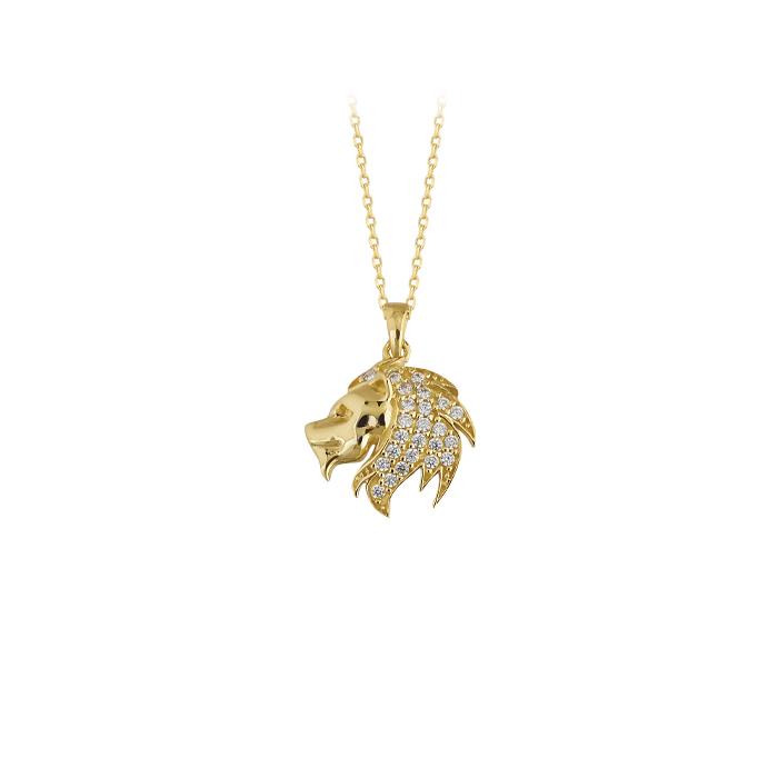 Women's Gemmed Lion Pendant 14 Carat Gold Necklace