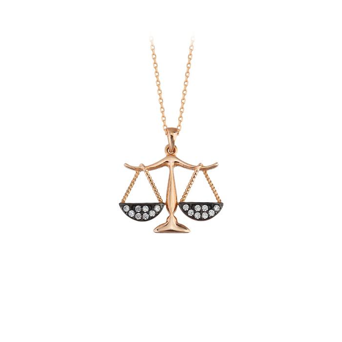 Women's Gemmed Libra Pendant 14 Carat Gold Necklace