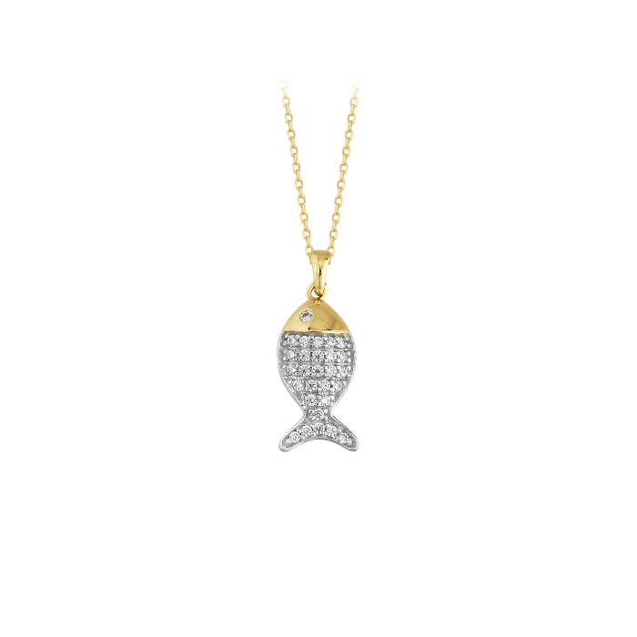Women's Gemmed Fish Pendant 14k Gold Necklace