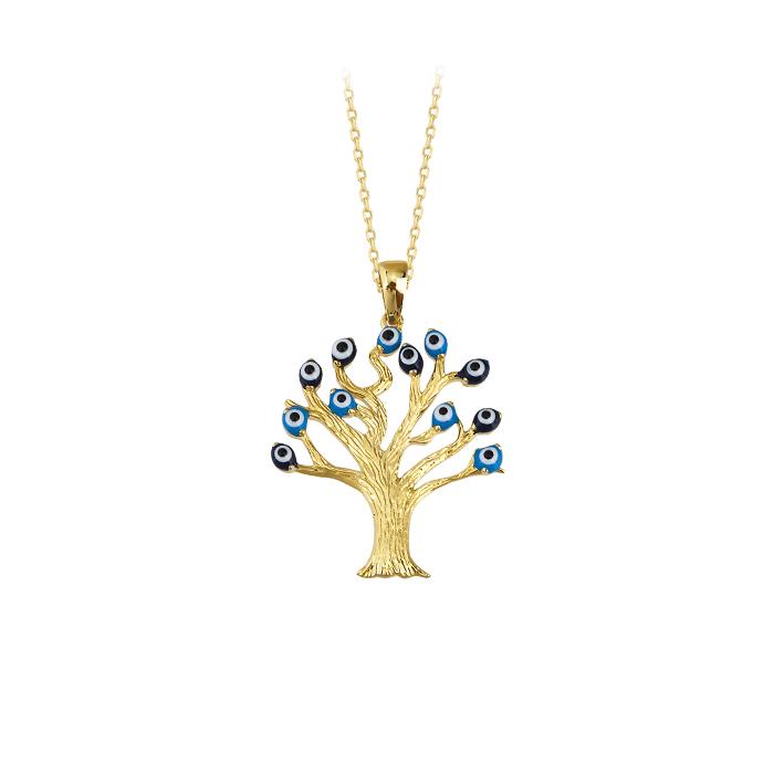 Women's Gemmed Tree Pendant 14k Gold Necklace