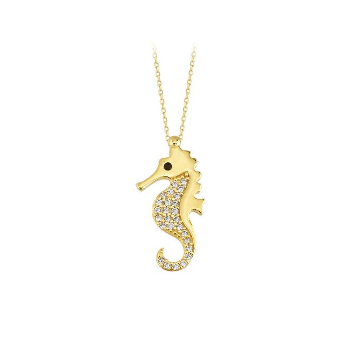 Women's Gemmed Seahorse Pendant 14k Gold Necklace