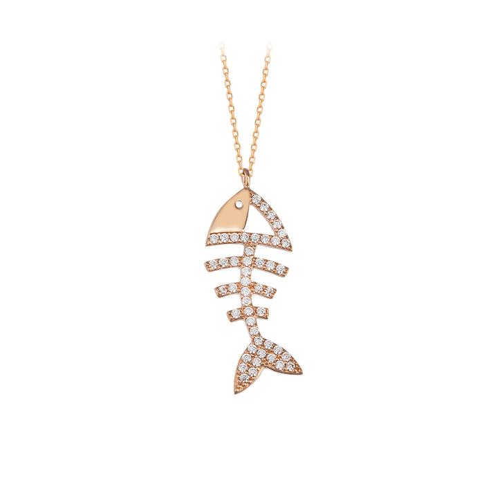 Gemmed Fish Pendant 14k Gold Necklace