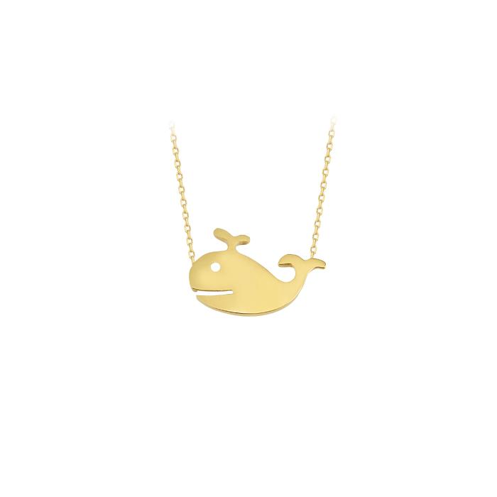 Whale Pendant 14k Gold Necklace