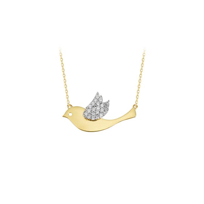 Women's Gemmed Bird Pendant 14k Gold Necklace