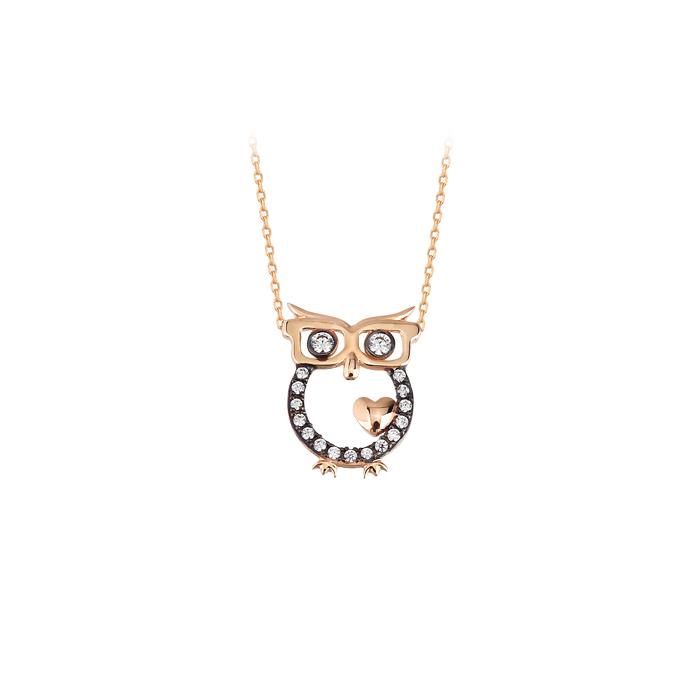Women's Gemmed Owl Pendant 14k Gold Necklace