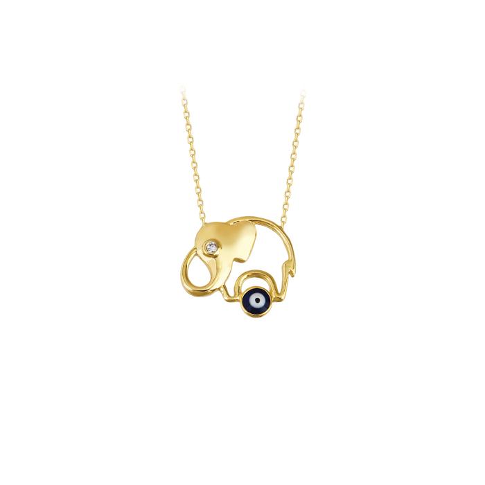 Women's Gemmed Elephant Pendant 14k Gold Necklace