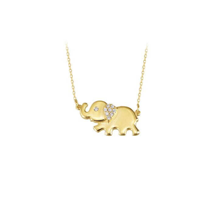 Gemmed Elephant Pendant 14 Carat Gold Necklace