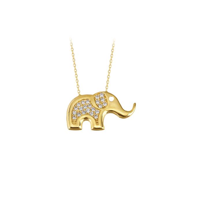 Women's Gemmed Elephant Pendant 14 Carat Gold Necklace