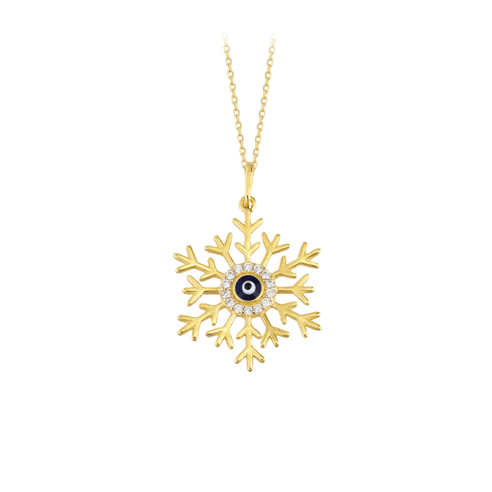 Women's Snowflake Pendant 14 Carat Gold Necklace