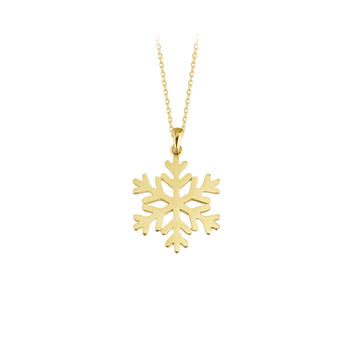 Snowflake Pendant 14 Carat Gold Necklace