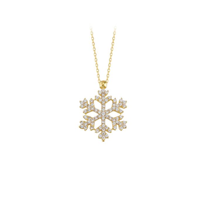 Gemmed Snowflake Pendant 14 Carat Gold Necklace