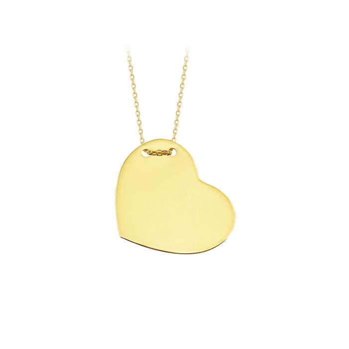 Women's Heart Pendant 14 Carat Gold Necklace