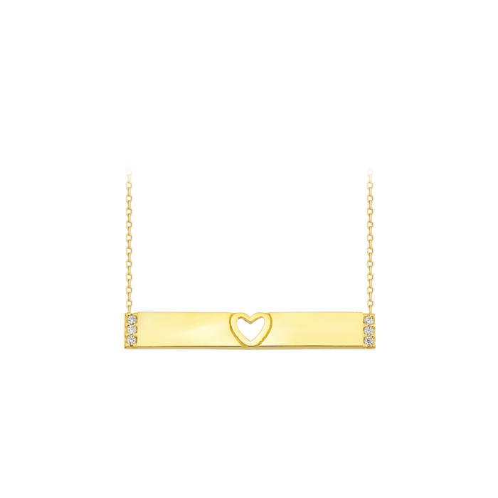 Stick Pendant 14 Carat Gold Necklace
