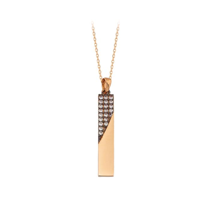 Gemmed Stick Pendant 14 Carat Gold Necklace