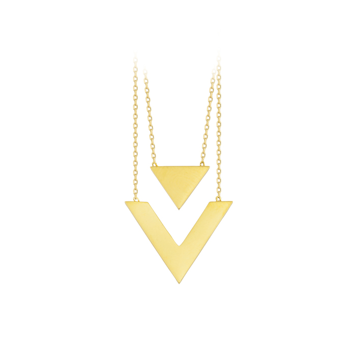 Triangle Circle 14 Carat Gold Necklace