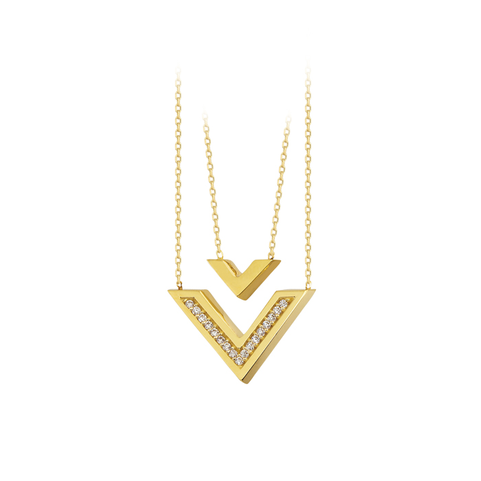 Women's Triangle Circle 14 Carat Necklace
