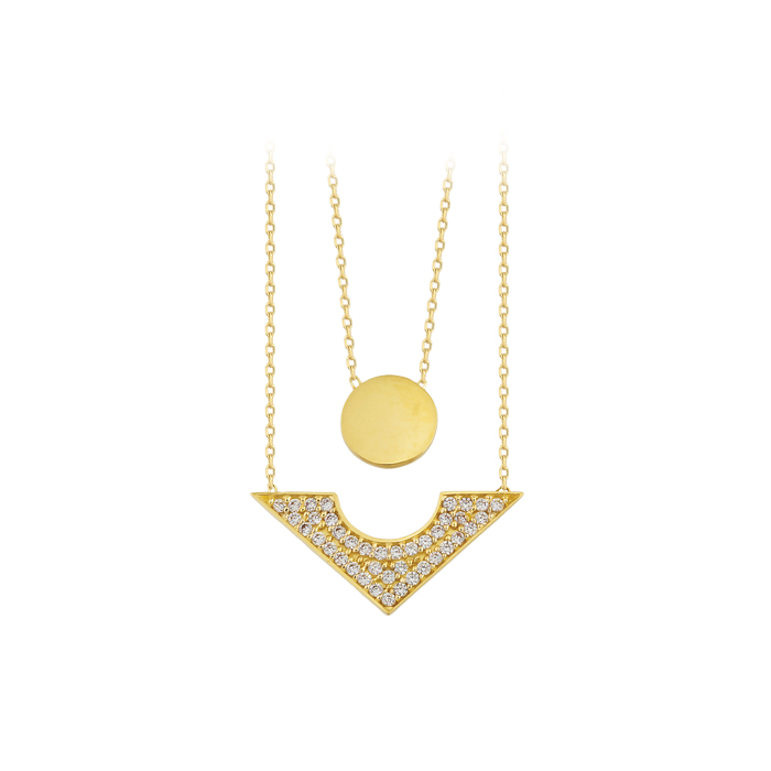 Gemmed Triangle Circle 14 Carat Necklace