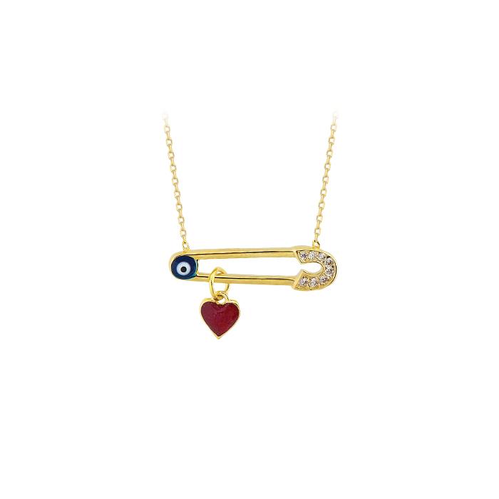 Evil Eye Pendant 14 Carat Gold Necklace