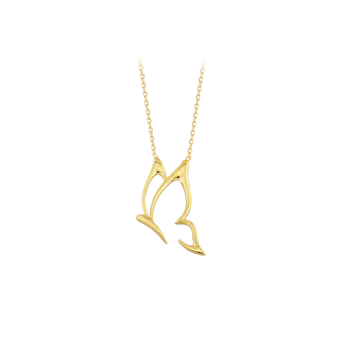 Women's Butterfly Pendant 14 Carat Gold Necklace