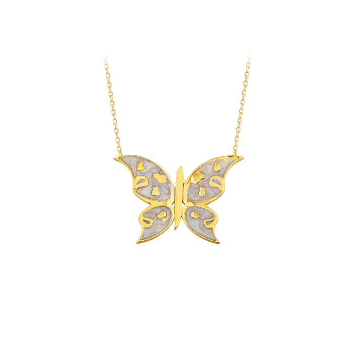Butterfly Pendant 14 Carat Gold Necklace