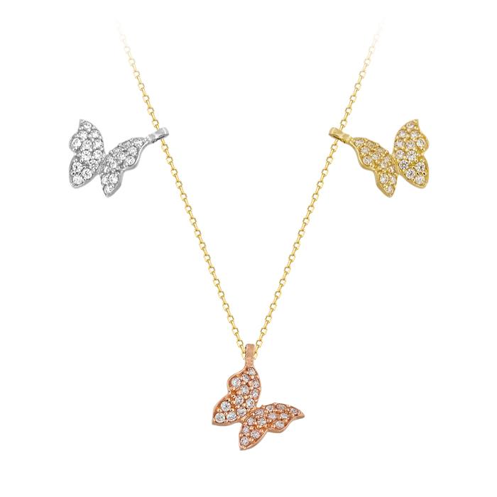 Women's Gemmed Butterfly Pendant 14k Gold Necklace