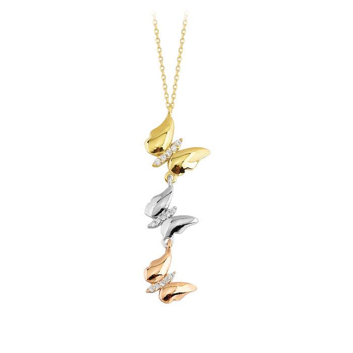 Women's Gemmed Butterfly Pendant 14 Carat Gold Necklace
