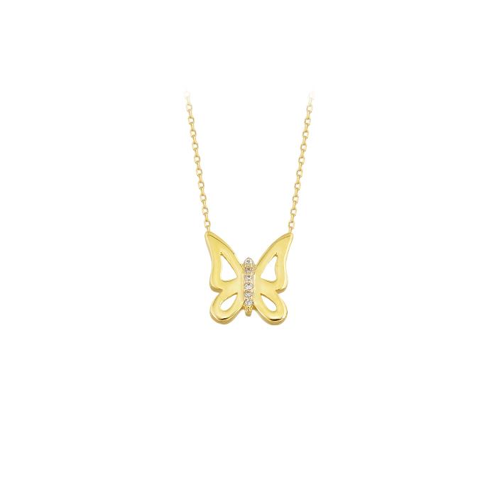 Butterfly Pendant 14k Gold Necklace