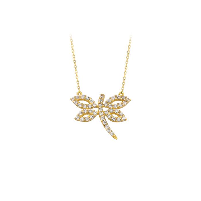 Women's Gemmed Dragonfly Pendant 14 Carat Gold Necklace