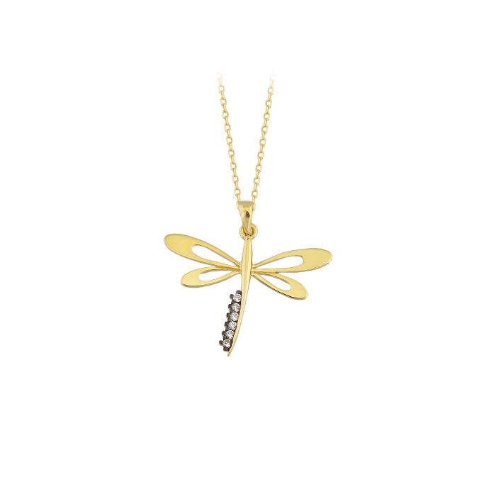 Dragonfly Pendant 14k Gold Necklace